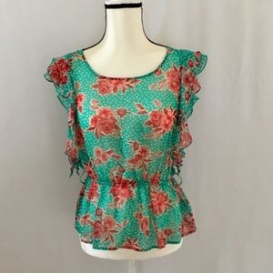 Forever 21 Floral Belted Tank Top Blouse M